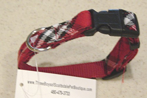 Red Plaid - Dog Collar - X Small 8-10 inches 1/2 wide by Three Boys of Scottsdale Pet - Fashion Scottsdale
