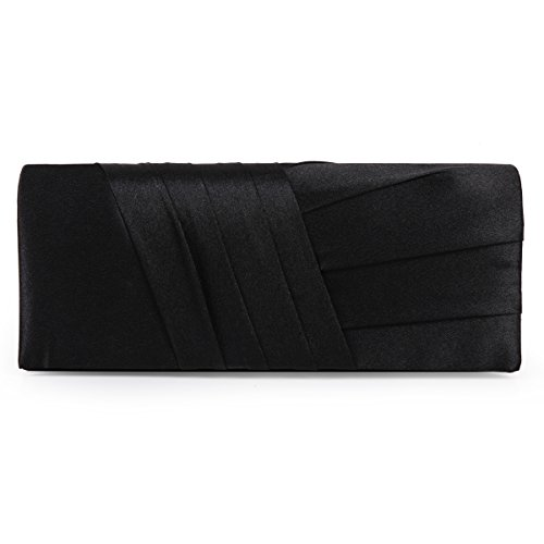 Elegance Clutch Cocktail Wedding Bag Satin Evening Damara Handbag Black U6Rnwan