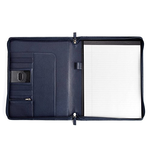 Classic Zippered Padfolio - Full Grain Leather - Navy (blue) by Leatherology