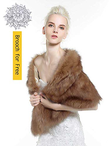 - Aukmla Sleeveless Faux Fur Shawl Wedding Fur Wraps and Shawls Bridal Fur Stole for Brides and Bridesmaids (Mink)