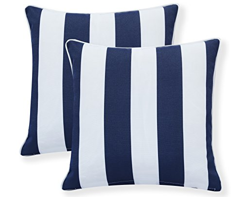 "Ornavo Home Water Resistant Indoor/Outdoor Square Patio Decorative Stripe Throw Pillow Cushion - Insert Included - Set of 2-18"" x 18"" - Navy"