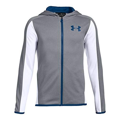 Under Armour Boys Armour Fleece Full Zip, Steel Light Heather (035)/Royal, Youth Large