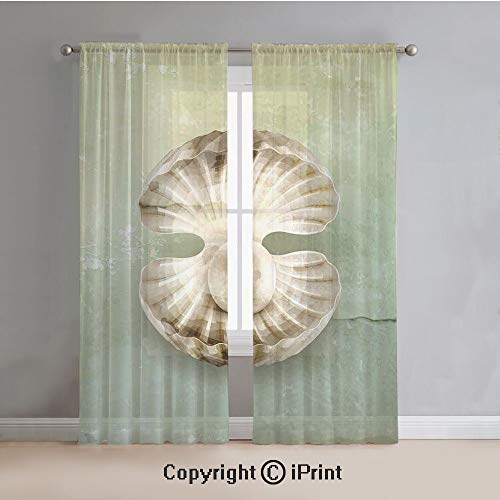 Pearls Sheer Curtains Window Voile,Pearl Within Open Shellfish Marine Life Magical Creature Vintage Texture Image,for Bedroom,Living Room,Kitchen,2 Panels Set,54x96Inches,Green Beige