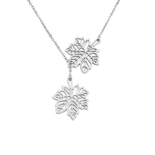 KUIYAI Double Canadian Maple Leaves Y Lariat Necklace for Women Girls (Silver Leaf Necklace)