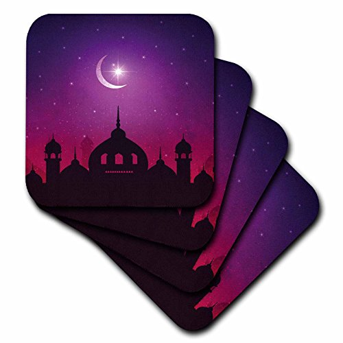 3dRose Sven Herkenrath Religion - Mosque Islam Muslim Islamic with Moon and Purple Background - set of 4 Ceramic Tile Coasters (cst_280333_3) by 3dRose