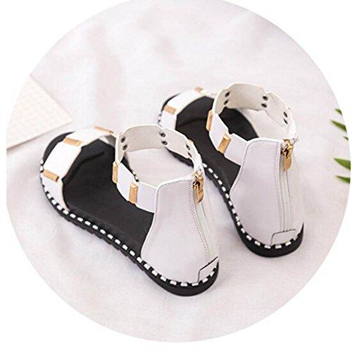 FEITONG Sandalias Mujer Nuevo Sandalias de verano Zapatos Plano Cremallera Sandalia Blanco