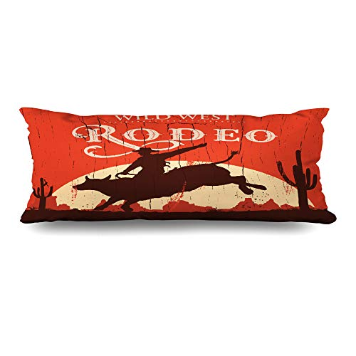 (Ahawoso Body Pillows Cover 20x54 Inches Rope Ride Rodeo Cowboy Riding Bull On Rider Wooden Vintage Western Retro Sunset Decorative Cushion Case Home Decor Pillowcase)