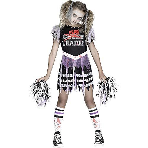 Fun World Girls Zombie Fearleader Costume, Multicolor, Medium 8-10