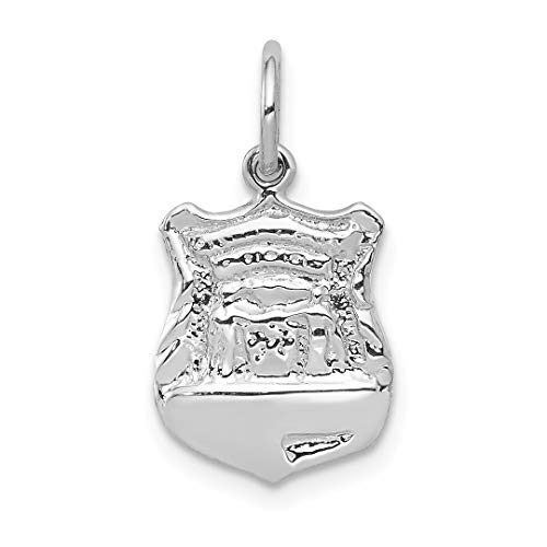 - 14k White Gold Police Badge Pendant Charm Necklace Career Professional Polouse Fine Jewelry For Women Gift Set