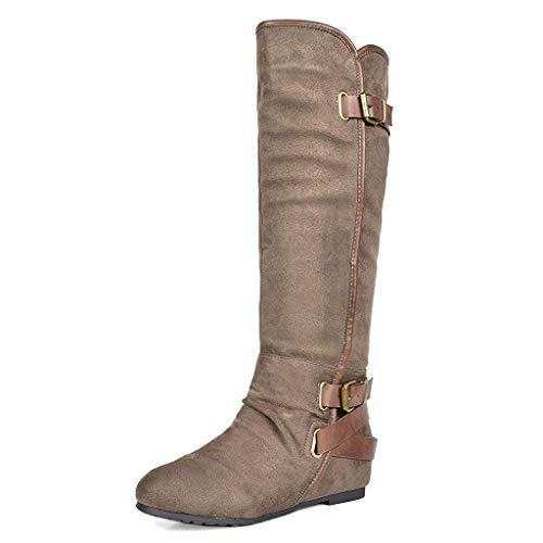 DREAM PAIRS Women's New-Akris Khaki Knee High Hidden Wedge Winter Riding Boots Size 7 B(M) ()