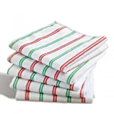 Christmas Stripes Microfiber Cloths- Holiday Themed Dish Cloths, 11-1/3 Square Cloths (Set of 5)