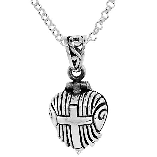 Sterling Silver Prayer Box Necklace Heart Shaped Cross Motif, 5/8 inch 16 inch Chain (Shaped Prayer Box)