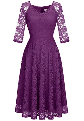 Dressystar Long-Sleeve A-Line Lace Bridesmaid Dress Midi for Wedding Formal Party 2XL Purple Bridesmaid Womens Long Sleeve