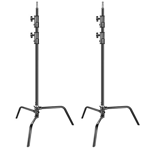 Neewer 2-pack Heavy Duty Aluminum Alloy C-Stand - Adjustable 5-10 feet/1.6-3.2 meters Light Stand for Photography Reflectors, Softboxes, Monolights, Umbrellas (Black)