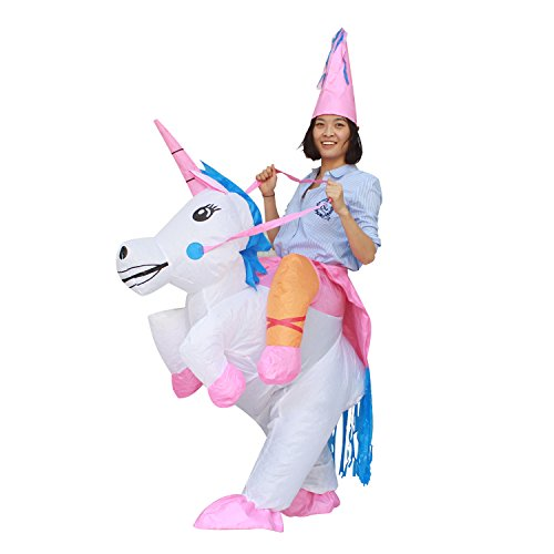 BestParty Fancy Adult Inflatable Costume Halloween Unicorn Fantasy Riding Clothing -