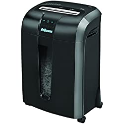 Fellowes Powershred 73Ci 100% Jam Proof Medium, Duty Cross, Cut Shredder, 12 Sheet Capacity, Black/Dark Silver (4601001)