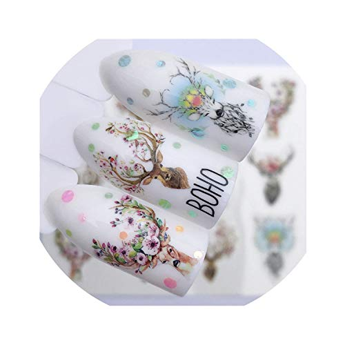 Flower Series Nail Art Water Transfer Stickers Full Wraps Deer Nail Tips,YZW-3074