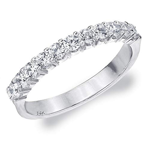 Shared Prong (.50CT Destiny Shared Prong Diamond Wedding Band in 14K White Gold - Finger Size 6)