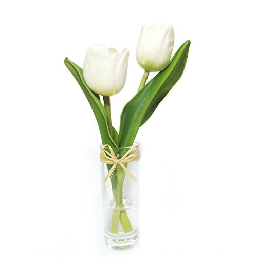 (EBUYOM Mini Artificial Flowers Tulips Bouquet in Glass Vase, Home Decor Ornament Wedding Decoration (White))