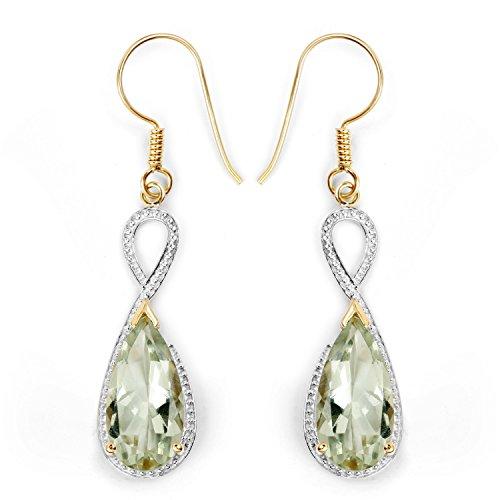 14K Yellow Gold Plated 10.10 Carat Genuine Green Amethyst .925 Sterling Silver Earrings
