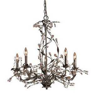 Elk 8054/5 5-Light Chandelier In Deep Rust and Crystal (Garden District Collection)
