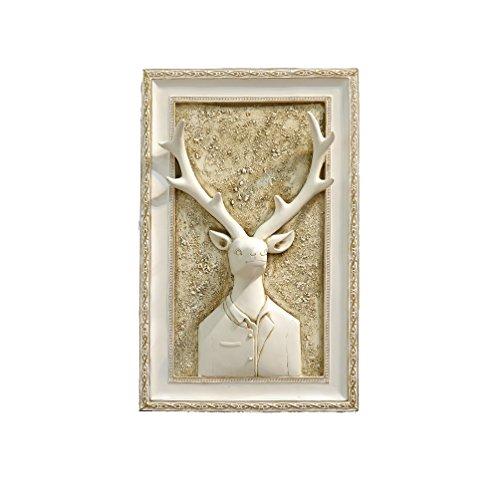 WAN SAN QIAN- Wall Paintings Embossed Paintings 3D Living Room DIY Vintage Deer Head Wall Murals 34x53cm Wall paintings ( Color : B ) - Murano Wall Sculpture
