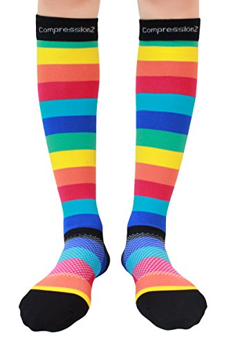 Compression Socks (Rainbow Stripes S/ 20-30mmHg) Men & Women Fun Running Casual Socks