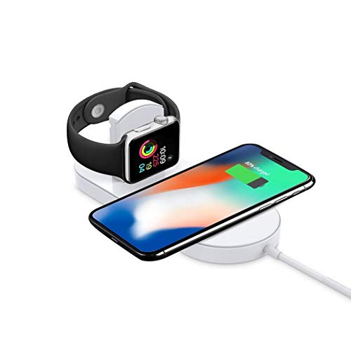 Wireless Charger - Wireless Charging Pad - Charging Station - Compatible for iWatch Series 3/2/1,iPhone X/XR/XS Max/XS/8/8 Plus, Galaxy S10/S10+/S9/S9+/S8/S8+/S7/Note8/9,Galaxy Buds (White)