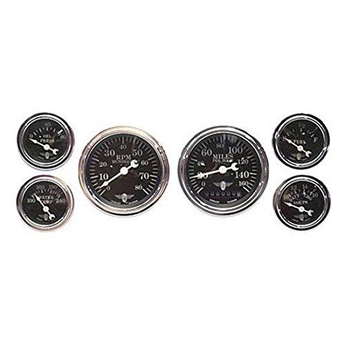 Stewart Warner 82223 Wings Black Face 6 Gauge Electric Kit
