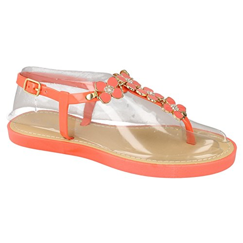 Womens Trim Diamante Flower Sandals White Post Ladies Toe Savannah RwHq1ZdZ