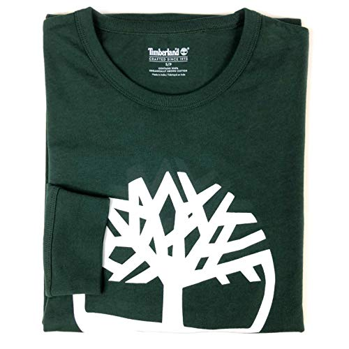 (Timberland Men's Long Sleeve Tree Logo Ringer T-Shirt (Forest Green, Large))