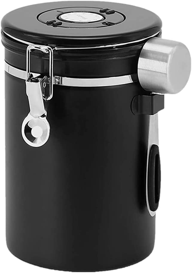 Keep Fresh- Airtight Stainless Steel Coffee Container Canister, 22OZ Kitchen Food Storage Container with Scoop and Date Tracker, for Beans Grounds Tea Flour Cereal Sugar