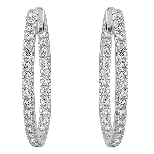 Olivia Paris 14k White Gold 1 Carat cttw Round Brilliant Diamond Hoop Earrings (H-I, SI2-I1) 1