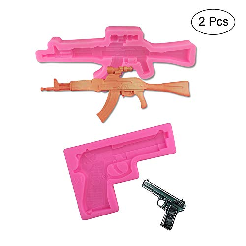 2 Pack Gun Silicone Fondant Molds Candy Chocolate Ice Resin Clay Making Molds Cake DIY Decorating Tools (Gun Cake Mold)