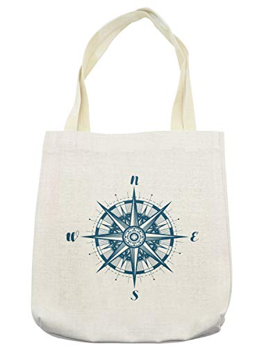 Lunarable Vintage Nautical Tattoo Tote Bag, Cardinal Directions Compass Rose Monochrome Simplistic Pattern, Cloth Linen Reusable Bag for Shopping Books Beach and More, 16.5