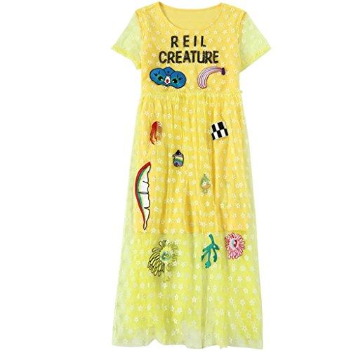 YaNanHome Robe d't Nouvelle Robe de Style Temprament Temprament Robe Fminine Longue Paragraphe Broderie de Mode Jupe T-Shirt (Color : Yellow, Size : XL) Yellow