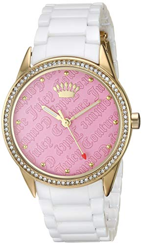 - Juicy Couture Black Label Women's Swarovski Crystal Accented Gold-Tone and White Ceramic Bracelet Watch