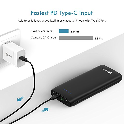 [PD 30W Portable Charger] iClever 21000mAh USB C Power Bank, Power Delivery 30W USB Type-C Portable Charger with USB 3.0 Quick Charging for Nintendo Switch, MacBook 2016, USB Type-C Laptop