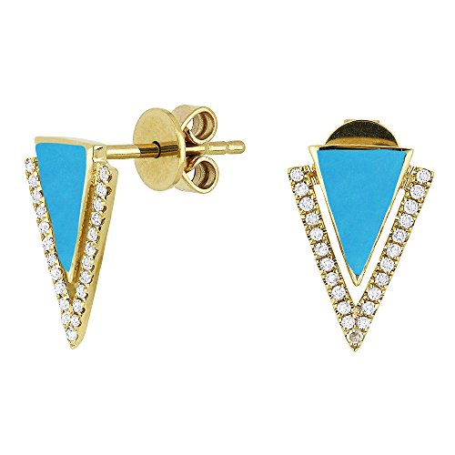 Eros' Iced Showroom Turquoise Gemstone & Accented White Diamond Dangle-Earring Set In 14K Yellow-Gold 0.1 Ct Gemstones