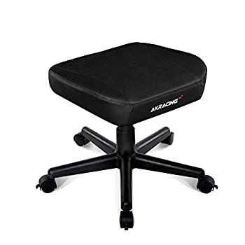 Image of AKRacing Footstool with PU Leather, Height Adjustable with Wheels, Ottoman Foot Rest for Office and Gaming Chairs - PC; Mac; Linux Home and Kitchen