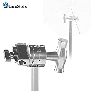 LimoStudio 2.5 Inch Diameter Grip Head Silver with Cleaning Cloth 1/2, 1/4, 3/8, 5/8 Inch Mount, Compatible with Super Clamp, Extension Grip Arm, C Stand, Reflector Disc, Photo Studio, AGG2152