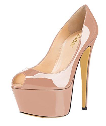 Guoar - Zapatos con tacón Mujer Natural