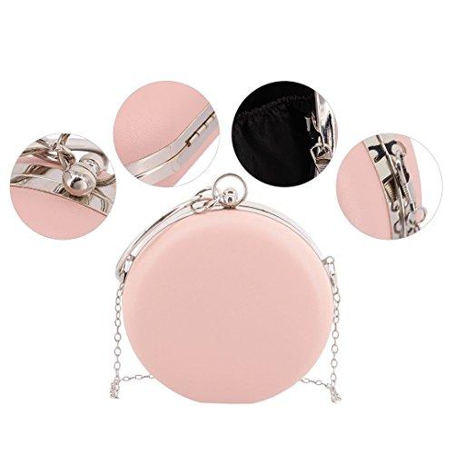 Pink1 Ladies Fashionable Women Evening Purse Clutch Shoulder Bridal Handbag Hardbox Party Liliam Prom UwFRxqw7