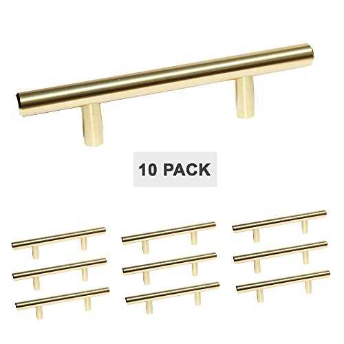 Satin Brass Cabinet Hardware Euro Style Bar Handle Pull - 3