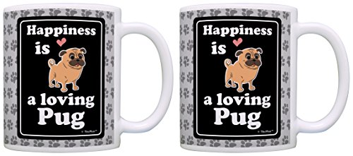 - Pug Gift Happiness is a Loving Pug Rescue 2 Pack Gift Coffee Mugs Tea Cups Paw Prints