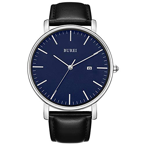 BUREI Men's Fashion Minimalist Wrist Watch Analog Deep Gray Date with Black Milanese Mesh/Leather Band (Blue-Black) ()
