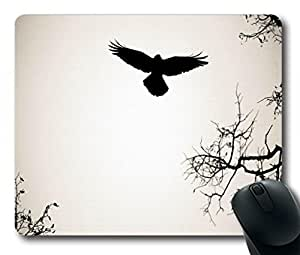 "branches, birds, wings, flapping, flight, silhouette, outline, outlines Personalized Style (01150990) Custom Oblong Gaming Mousepad Standard Size 220mm*180mm*3mm Rectangle Mouse Pad in 9""*7"""