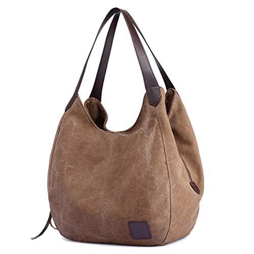 DOURR Women's Multi-pocket Shoulder Bag Fashion Cotton Canvas Handbag Tote Purse (Brown)