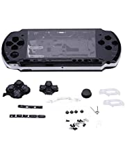 Wendry Game Shell for PSP 3000,Replacement Full Housing Console Game Shell Case Cover Repair Parts for PSP 3000 (Black)