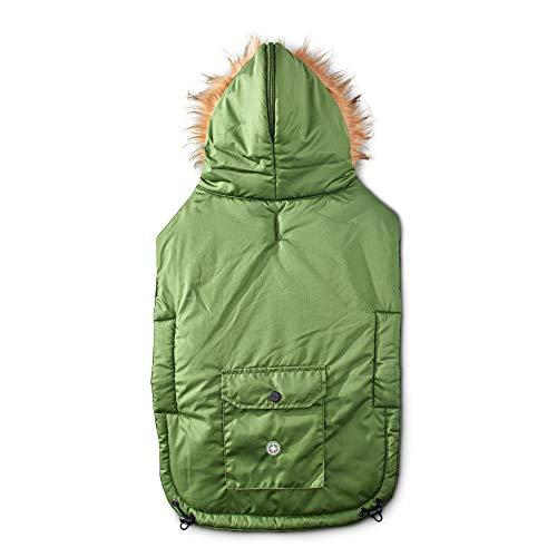 Good2Go Olive Split-Hood Parka Dog Coat, Medium/Large, Green ()